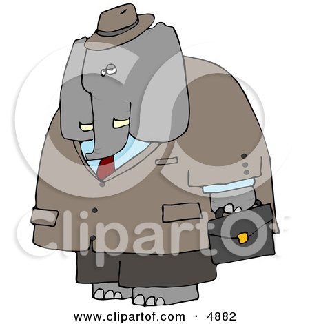 Human-like Male Business Elephant Carrying Briefcase Posters, Art Prints