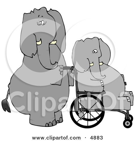 Human-like Caretaker Elephant Pushing Injured Elephant in a Wheelchair Clipart by djart