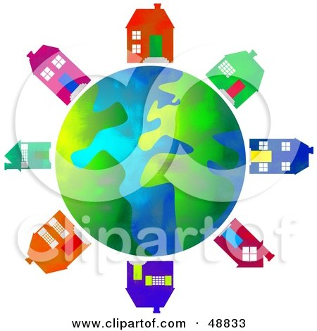 Royalty-Free (RF) Clipart Illustration of a Globe Surrounded by Colorful Houses by Prawny