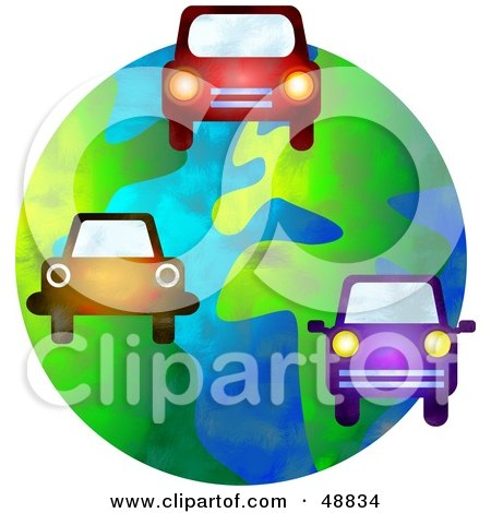 Royalty-Free (RF) Clipart Illustration of Cars Driving Over a Globe by Prawny