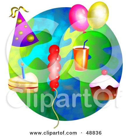 Royalty-Free (RF) Clipart Illustration of Party Objects Over a Globe by Prawny