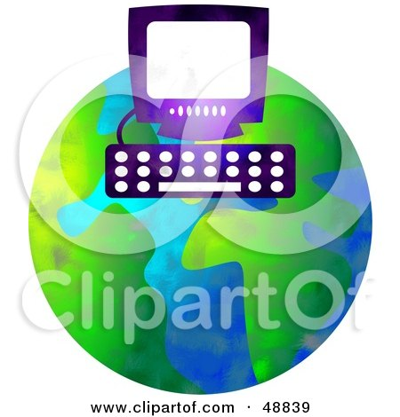 Royalty-Free (RF) Clipart Illustration of a Computer Over a Globe by Prawny