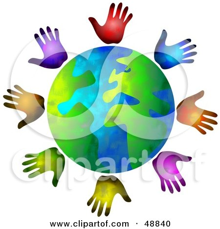 Royalty-Free (RF) Clipart Illustration of a Globe Surrounded by Diverse Hands by Prawny