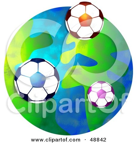 Royalty-Free (RF) Clipart Illustration of Soccer Balls Over a Globe by Prawny