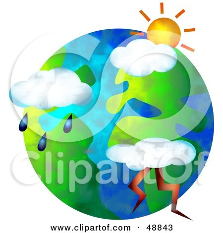 Royalty-Free (RF) Clipart Illustration of Weather Icons Over a Globe by Prawny