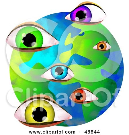 Royalty-Free (RF) Clipart Illustration of Colorful Eyes Over a Globe by Prawny