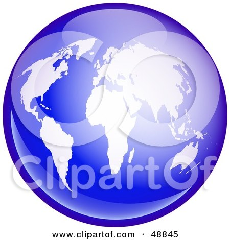 Royalty-Free (RF) Clipart Illustration of a Shiny Blue Globe With White Continents by Prawny
