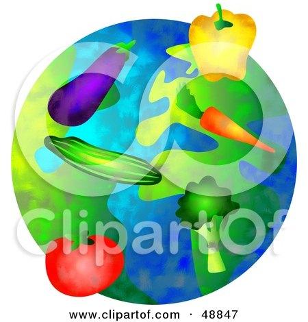 Royalty-Free (RF) Clipart Illustration of Organic Veggies Over a Globe by Prawny