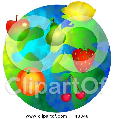 Royalty-Free (RF) Clipart Illustration of a Fruity World With Apples, Pears, Strawberries, Cherries, Lemons And Oranges by Prawny