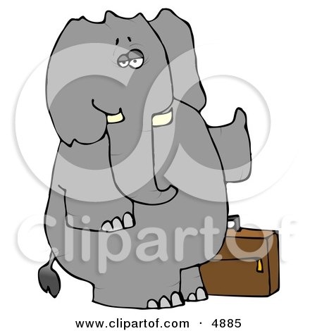 Human-like Elephant Trying to Hitch a Ride Clipart by djart