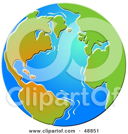 Royalty-Free (RF) Clipart Illustration of a Blue Beveled Globe With Gradient Continents by Prawny