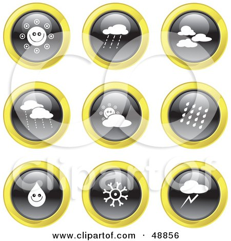 Royalty-Free (RF) Clipart Illustration of a Digital Collage Of Black, White And Yellow Weather Icons by Prawny