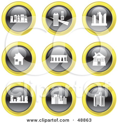 Royalty-Free (RF) Clipart Illustration of a Digital Collage Of Black, White And Yellow Architecture Icons by Prawny