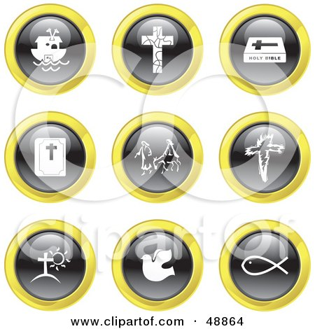 Royalty-Free (RF) Clipart Illustration of a Digital Collage Of Black, White And Yellow Christian Icons by Prawny