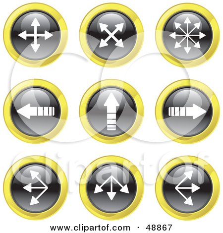 Royalty-Free (RF) Clipart Illustration of a Digital Collage Of Black, White And Yellow Pointing Arrow Icons by Prawny