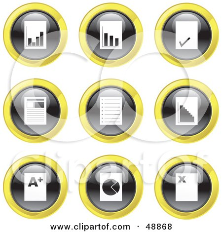 Royalty-Free (RF) Clipart Illustration of a Digital Collage Of Black, White And Yellow Document Icons by Prawny