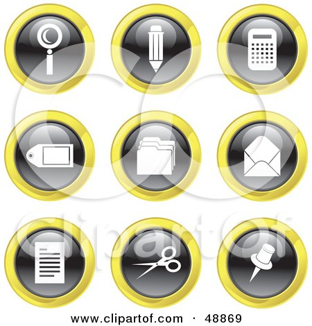 Royalty-Free (RF) Clipart Illustration of a Digital Collage Of Black, White And Yellow Office Icons by Prawny