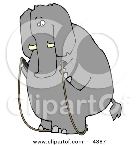 Human-like Obese Elephant Jump Roping Clipart by djart