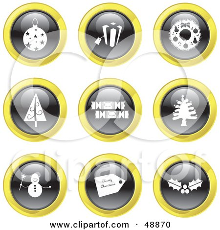 Royalty-Free (RF) Clipart Illustration of a Digital Collage Of Black, White And Yellow Christmas Icons by Prawny