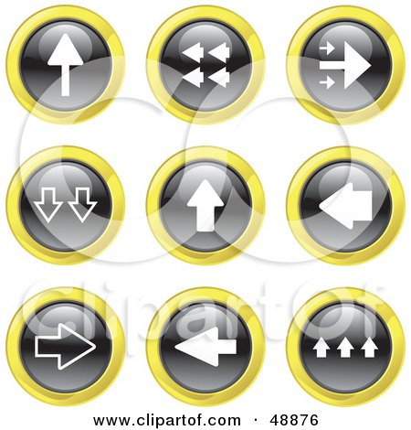 Royalty-Free (RF) Clipart Illustration of a Digital Collage Of Black, White And Yellow Arrow Icons by Prawny