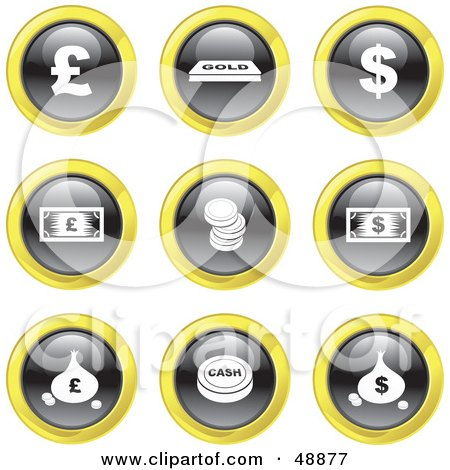 Royalty-Free (RF) Clipart Illustration of a Digital Collage Of Black, White And Yellow Money Icons by Prawny