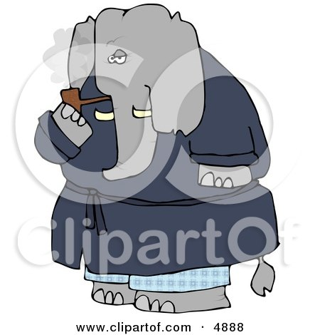 Human-like Elephant Smoking Tobacco Pipe Posters, Art Prints