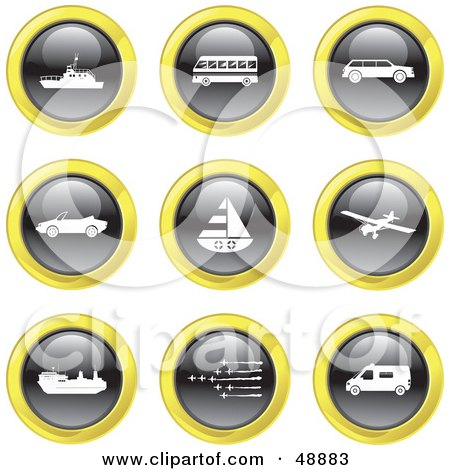 Royalty-Free (RF) Clipart Illustration of a Digital Collage Of Black, White And Yellow Transport Icons by Prawny