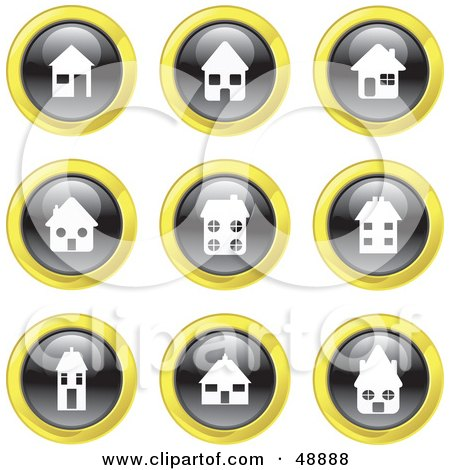 Royalty-Free (RF) Clipart Illustration of a Digital Collage Of Black, White And Yellow House Icons by Prawny