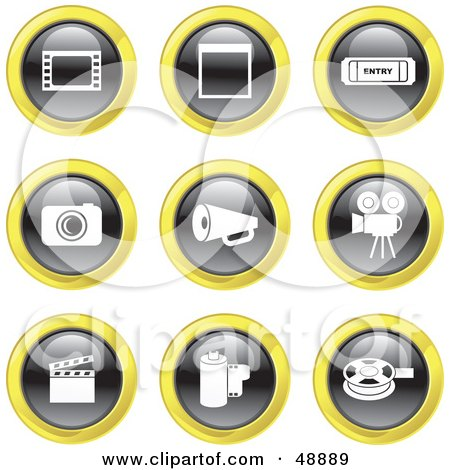 Royalty-Free (RF) Clipart Illustration of a Digital Collage Of Black, White And Yellow Film Industry Icons by Prawny