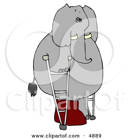 Clipart of an injured human-like elephant walking around with a broken leg