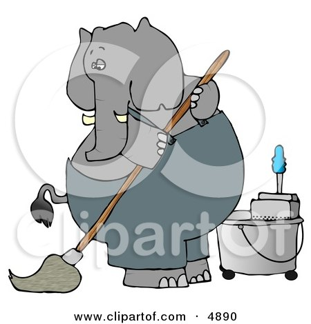 Human-like Elephant Janitor Cleaning and Mopping a Floor Posters, Art Prints