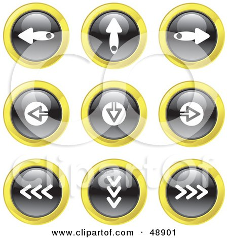 Royalty-Free (RF) Clipart Illustration of a Digital Collage Of Black, White And Yellow Digital Arrow Icons by Prawny