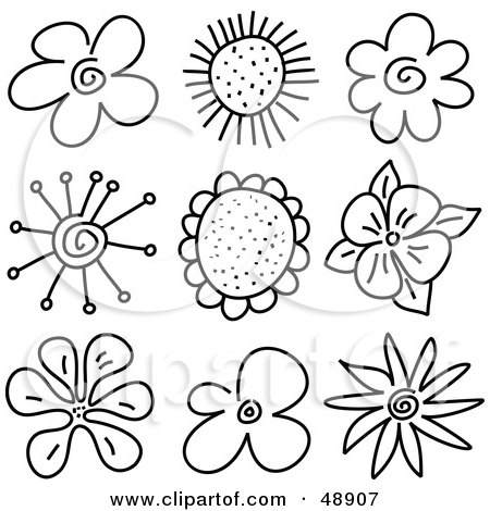 black and white flowers drawings. Of Black And White Flower