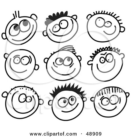 Royalty-Free (RF) Clipart Illustration of a Digital Collage Of Black And White Grinning Boy Stick People Faces by Prawny
