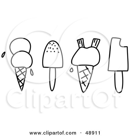 Royalty-Free (RF) Clipart Illustration of a Digital Collage Of Black And White Ice Cream And Popsicles by Prawny