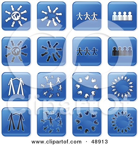 Royalty-Free (RF) Clipart Illustration of a Digital Collage Of Square Blue, Black And White Teamwork Icons by Prawny