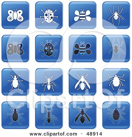 Royalty-Free (RF) Clipart Illustration of a Digital Collage Of Square Blue, Black And White Insect Icons by Prawny