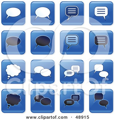 Royalty-Free (RF) Clipart Illustration of a Digital Collage Of Square Blue, Black And White Chat Window Icons by Prawny