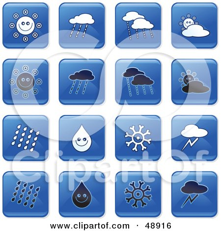 Royalty-Free (RF) Clipart Illustration of a Digital Collage Of Square Blue, Black And White Weather Icons by Prawny