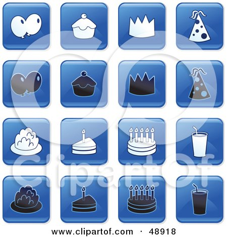 Royalty-Free (RF) Clipart Illustration of a Digital Collage Of Square Blue, Black And White Party Icons by Prawny