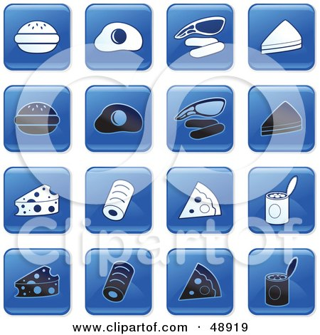 Royalty-Free (RF) Clipart Illustration of a Digital Collage Of Square Blue, Black And White Food Icons by Prawny