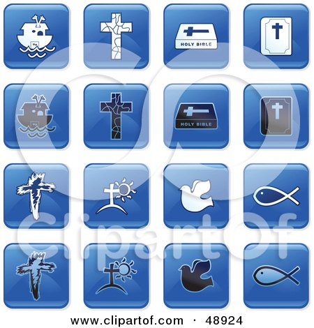 Royalty-Free (RF) Clipart Illustration of a Digital Collage Of Square Blue, Black And White Christian Icons by Prawny