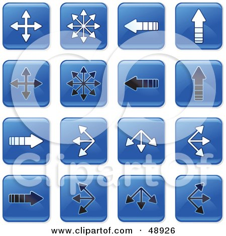 Royalty-Free (RF) Clipart Illustration of a Digital Collage Of Square Blue, Black And White Directional Arrow Icons by Prawny
