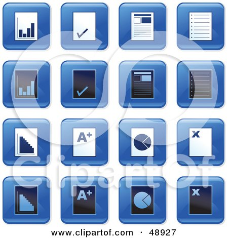 Royalty-Free (RF) Clipart Illustration of a Digital Collage Of Square Blue, Black And White Document Icons by Prawny