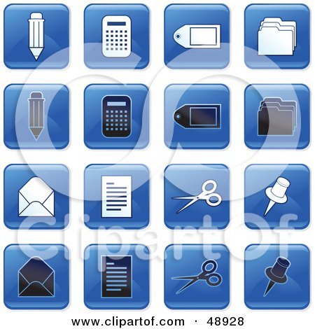 Royalty-Free (RF) Clipart Illustration of a Digital Collage Of Square Blue, Black And White Office Icons by Prawny