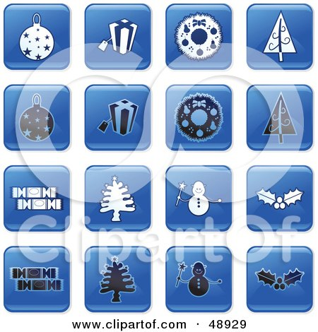 Royalty-Free (RF) Clipart Illustration of a Digital Collage Of Square Blue, Black And White Christmas Icons by Prawny