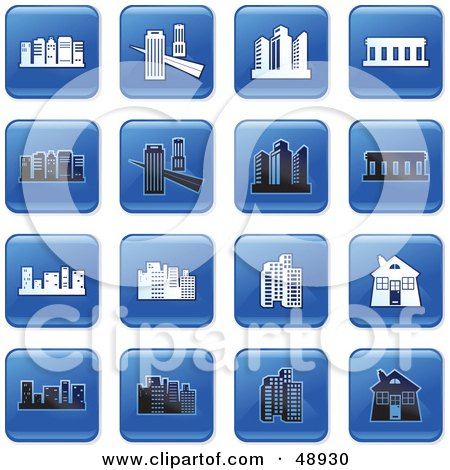 Royalty-Free (RF) Clipart Illustration of a Digital Collage Of Square Blue, Black And White Architecture Icons by Prawny