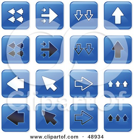 Royalty-Free (RF) Clipart Illustration of a Digital Collage Of Square Blue, Black And White Arrow Icons by Prawny