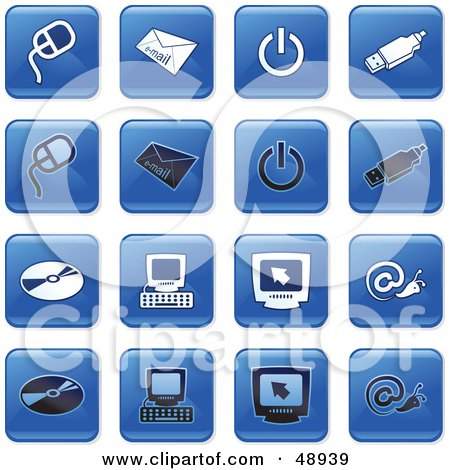 Royalty-Free (RF) Clipart Illustration of a Digital Collage Of Square Blue, Black And White Computer Icons by Prawny
