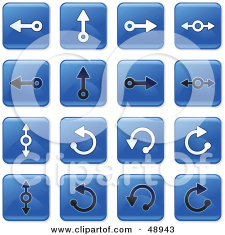 Royalty-Free (RF) Clipart Illustration of a Digital Collage Of Square Blue, Black And White Dial Arrow Icons by Prawny